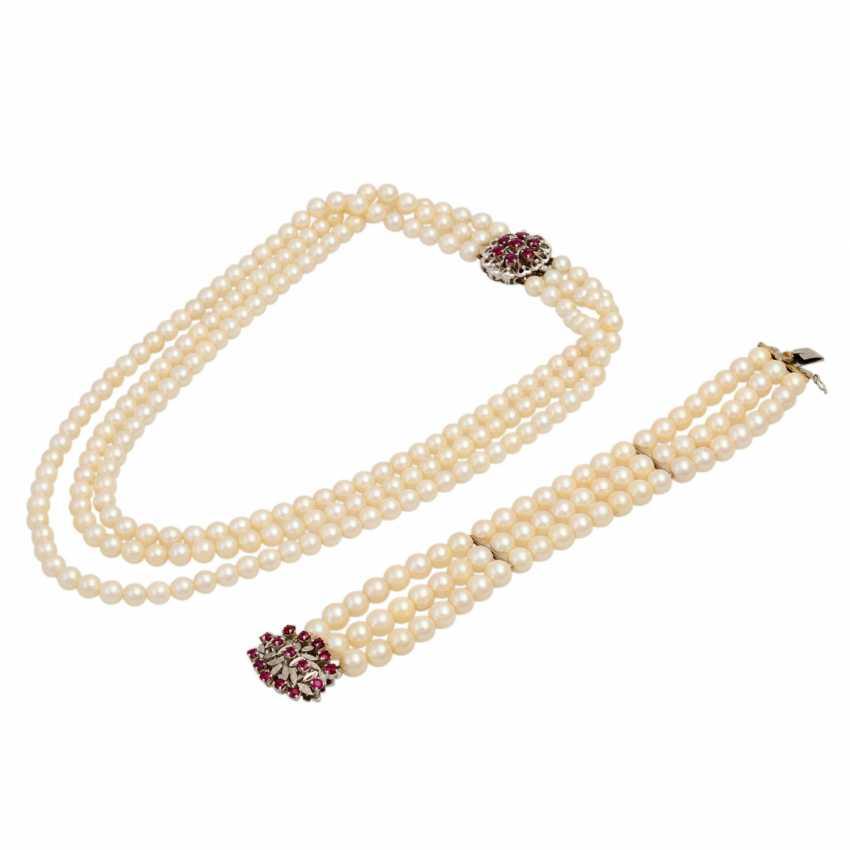 Akoya pearl necklace and bracelet set, - photo 1