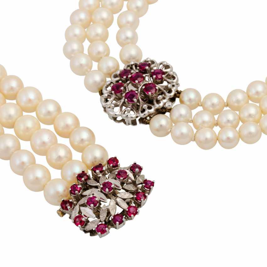 Akoya pearl necklace and bracelet set, - photo 4