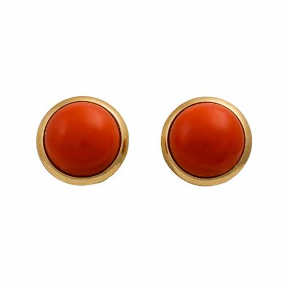 Set of ring and earrings with precious coral, - photo 4