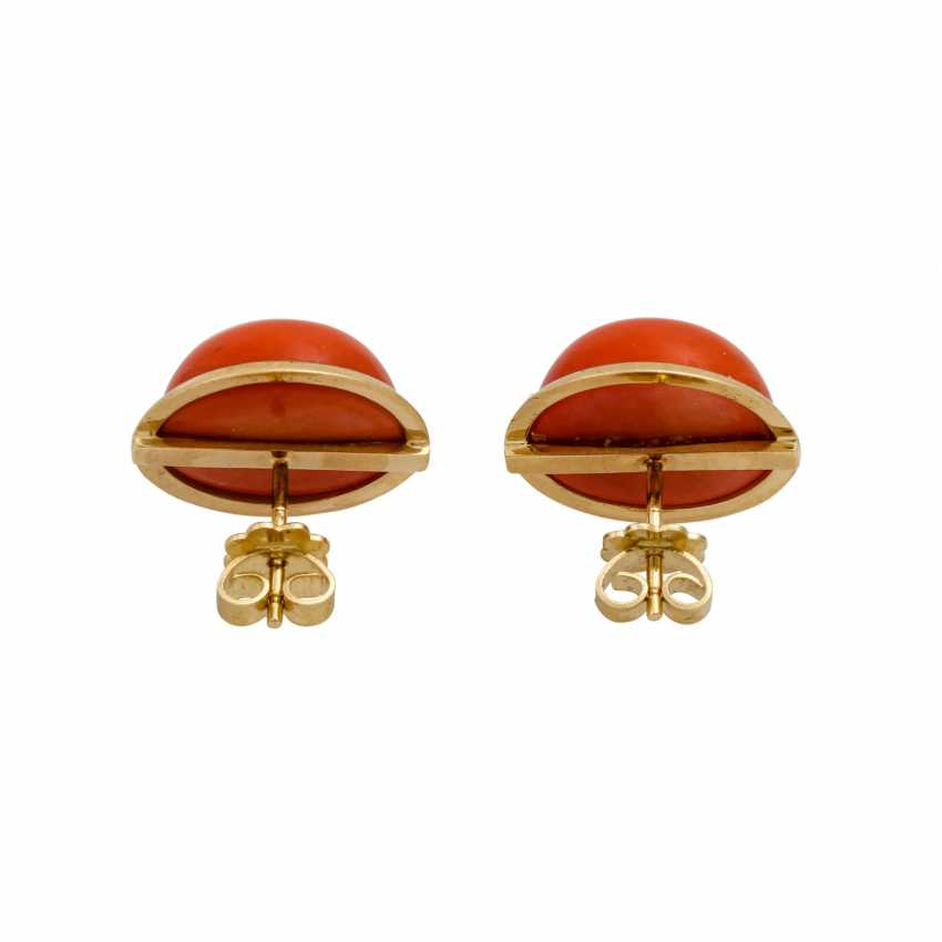 Set of ring and earrings with precious coral, - photo 5