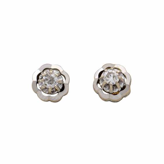 Pair of ear studs with old European cut diamonds totaling approx. 0.28 ct, - photo 1