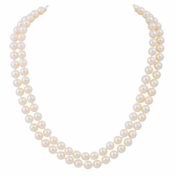 Double-row pearl necklace with sapphire-diamond clasp, - photo 1