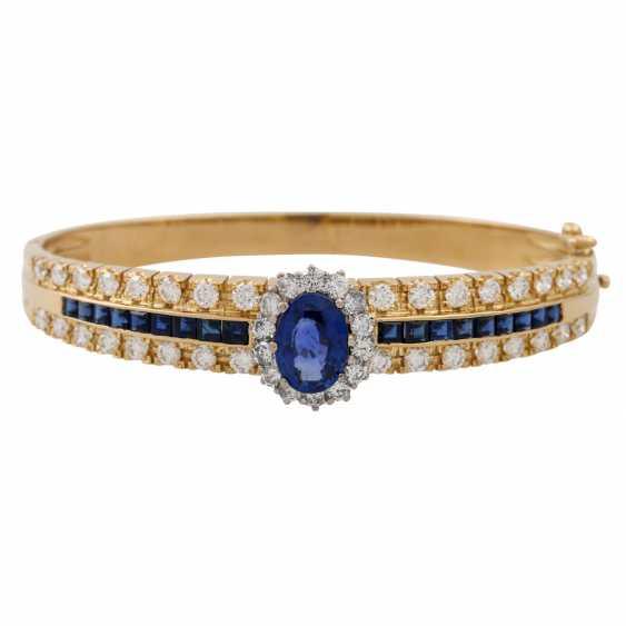 Bangle with sapphires and diamonds, - photo 1