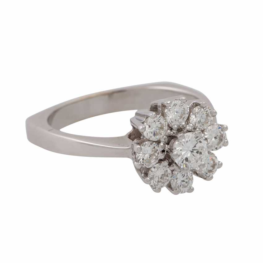 Ring with 9 brilliant-cut diamonds totaling approx. 0.97 ct (hallmarked), - photo 1