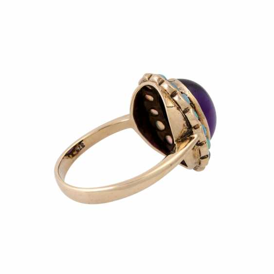 Ring with oval amethyst cabochon and small. Opals, - photo 3