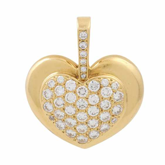 Heart pendant set with diamonds totaling approx. 1 ct, - photo 1