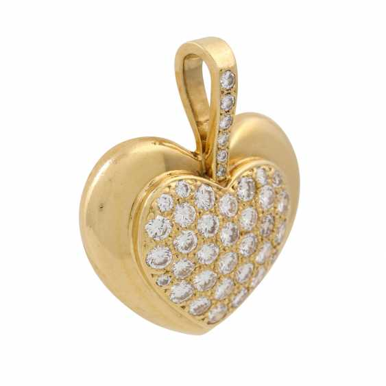 Heart pendant set with diamonds totaling approx. 1 ct, - photo 2