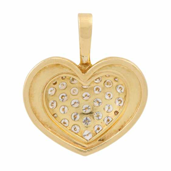 Heart pendant set with diamonds totaling approx. 1 ct, - photo 3