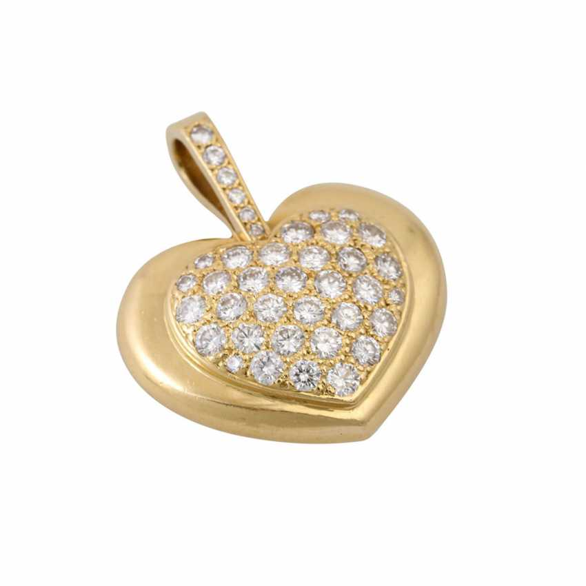 Heart pendant set with diamonds totaling approx. 1 ct, - photo 4