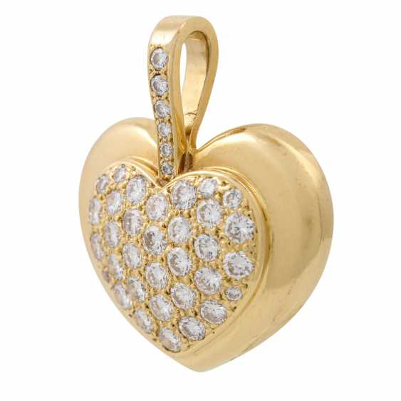 Heart pendant set with diamonds totaling approx. 1 ct, - photo 5