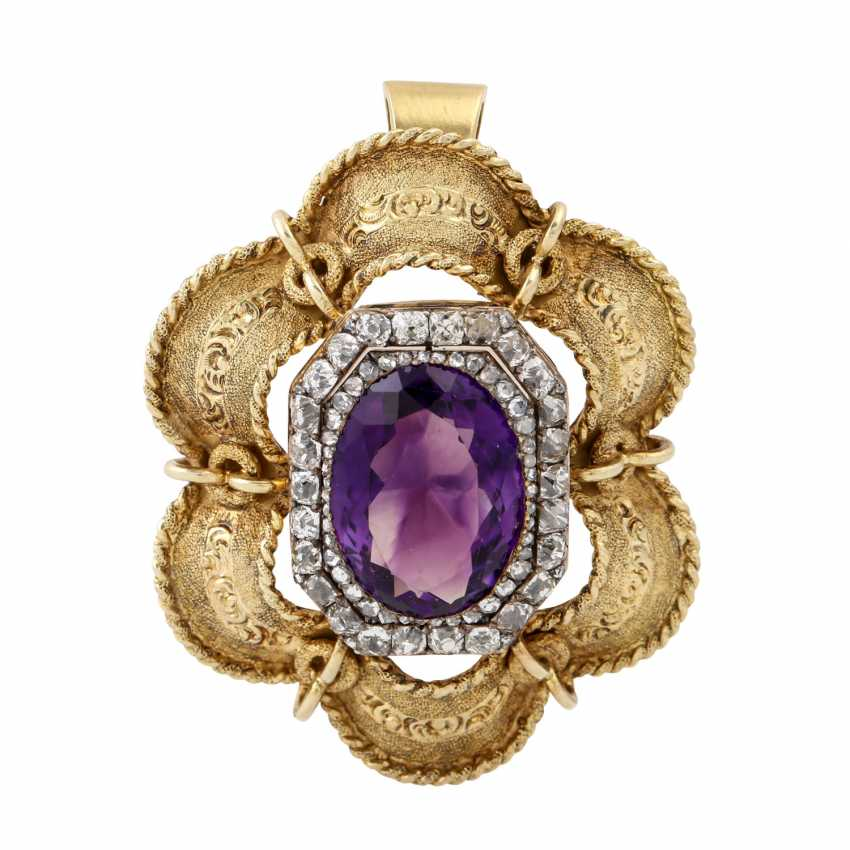 Pendant with amethyst of approx. 10 ct and diamonds together approx. 1.6 ct, - photo 1