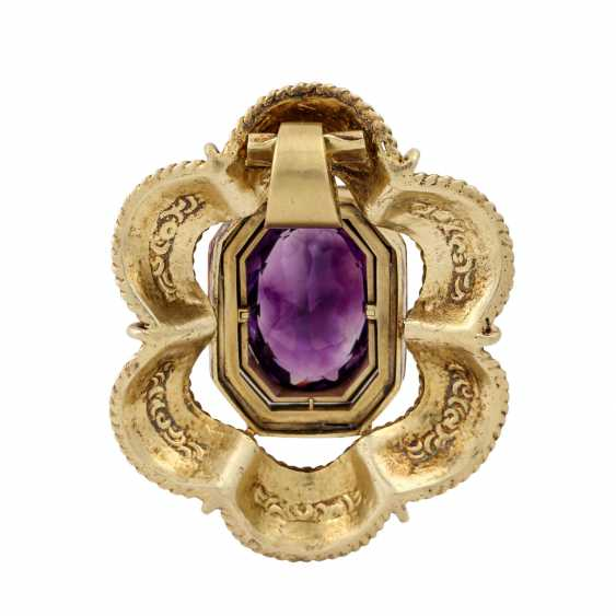 Pendant with amethyst of approx. 10 ct and diamonds together approx. 1.6 ct, - photo 3