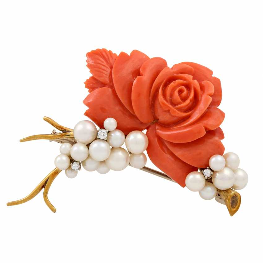 """""""Rose"""" brooch made of coral with cultured pearls and 3 small. Diamonds, - photo 1"""