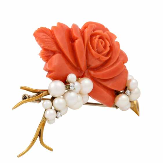 """""""Rose"""" brooch made of coral with cultured pearls and 3 small. Diamonds, - photo 2"""