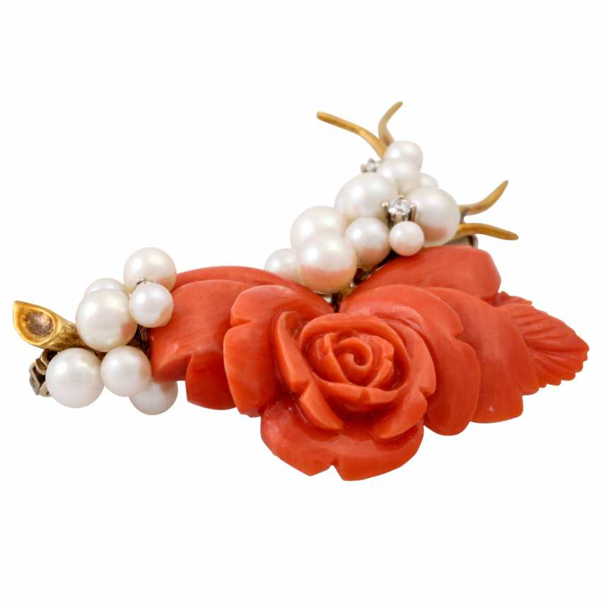 """""""Rose"""" brooch made of coral with cultured pearls and 3 small. Diamonds, - photo 3"""