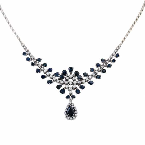Collier with teardrop-shaped sapphires together approx. 5.0 ct and brilliant-cut diamonds approx. 1.5 ct, - photo 1