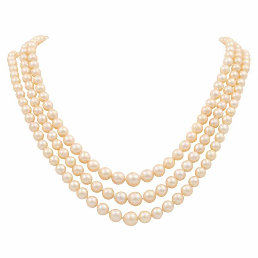 Akoya pearl necklace in the course, 3 rows, - photo 1