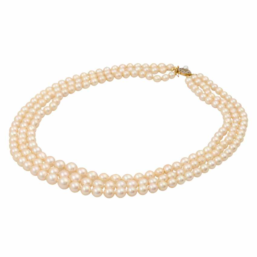 Akoya pearl necklace in the course, 3 rows, - photo 3