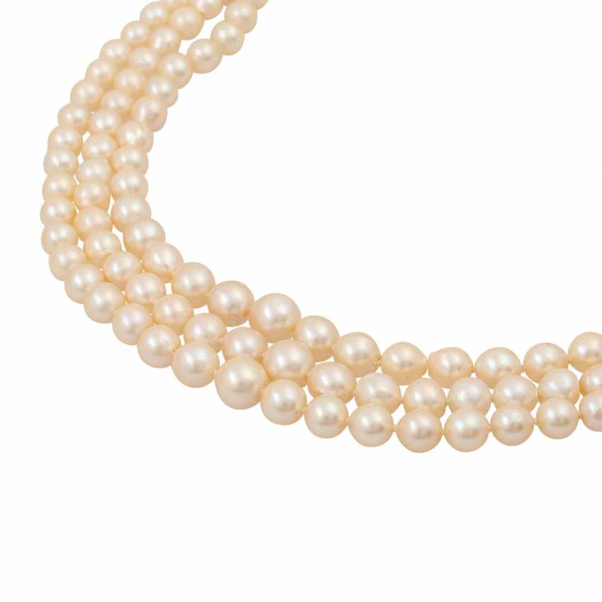 Akoya pearl necklace in the course, 3 rows, - photo 4