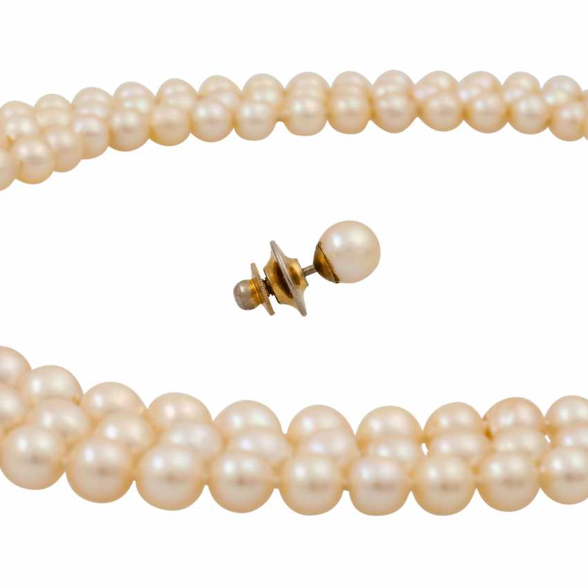 Akoya pearl necklace in the course, 3 rows, - photo 5