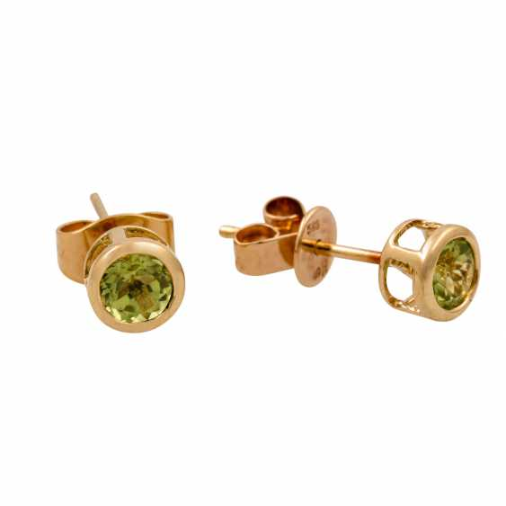 2 pairs of ear studs with citrines and peridots, - photo 2