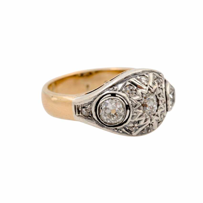 Ring with old European cut diamonds and diamond roses together approx. 0.8 ct - photo 2