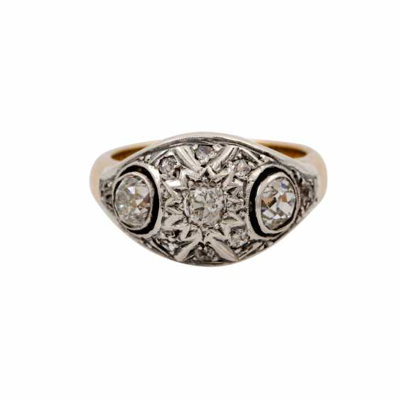 Ring with old European cut diamonds and diamond roses together approx. 0.8 ct - photo 3