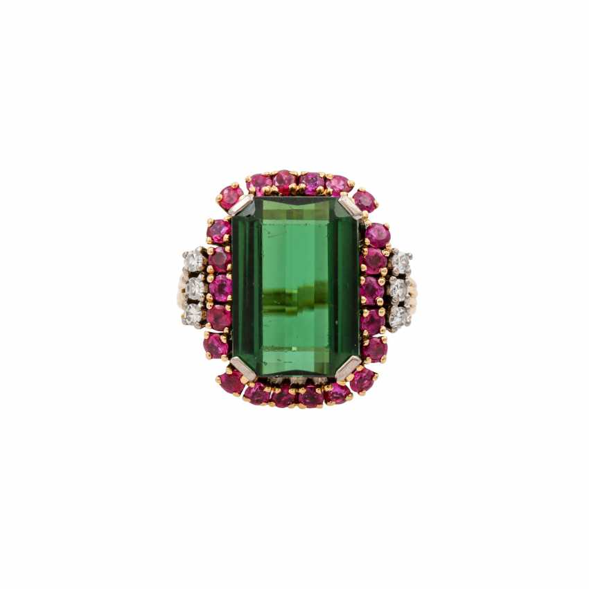 SCHILLING ring with green tourmaline, rubies and octagonal diamonds, - photo 2