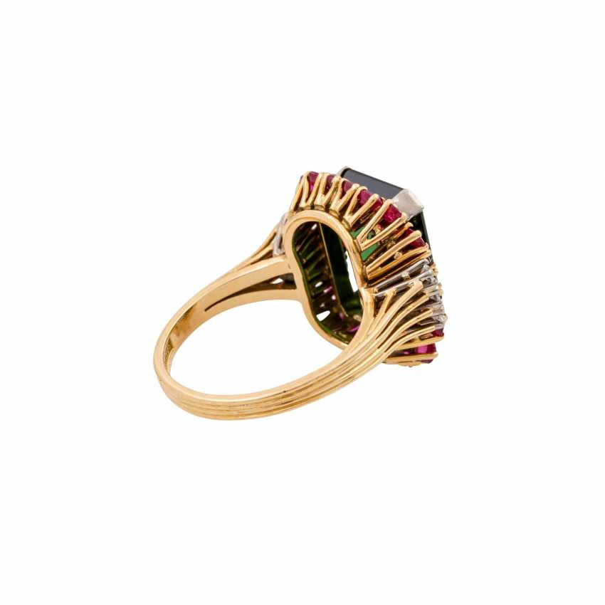 SCHILLING ring with green tourmaline, rubies and octagonal diamonds, - photo 3