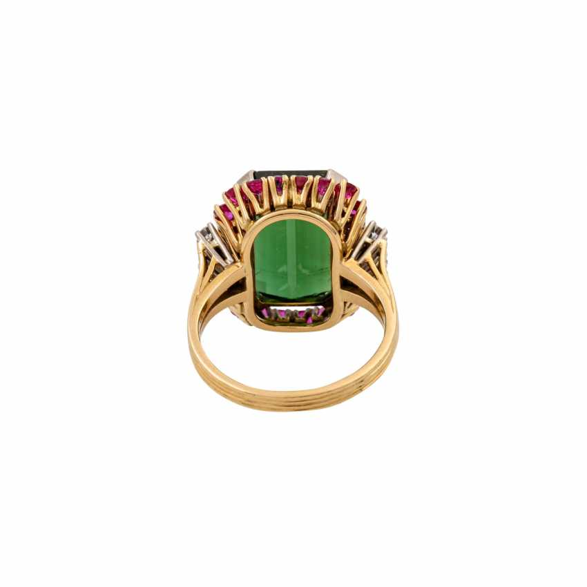 SCHILLING ring with green tourmaline, rubies and octagonal diamonds, - photo 4