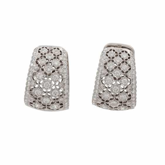 Hoop earrings with diamonds of 1.26 ct each (hallmarked), - photo 1