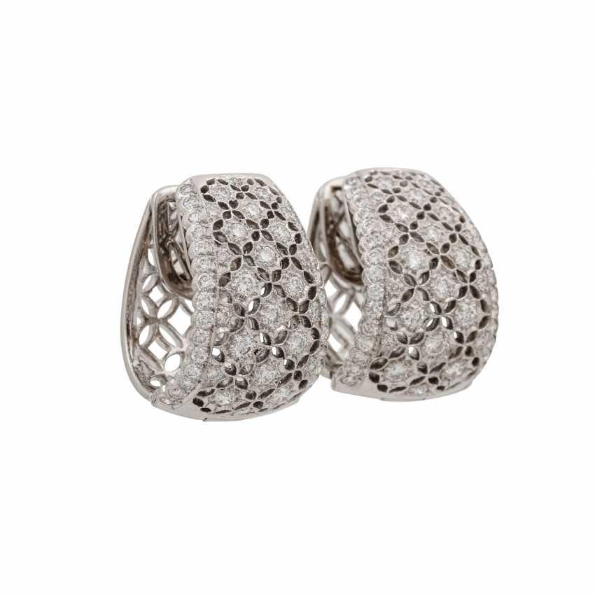 Hoop earrings with diamonds of 1.26 ct each (hallmarked), - photo 2