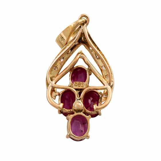 Pendant with 4 oval faceted rubies and octagonal diamonds - photo 3