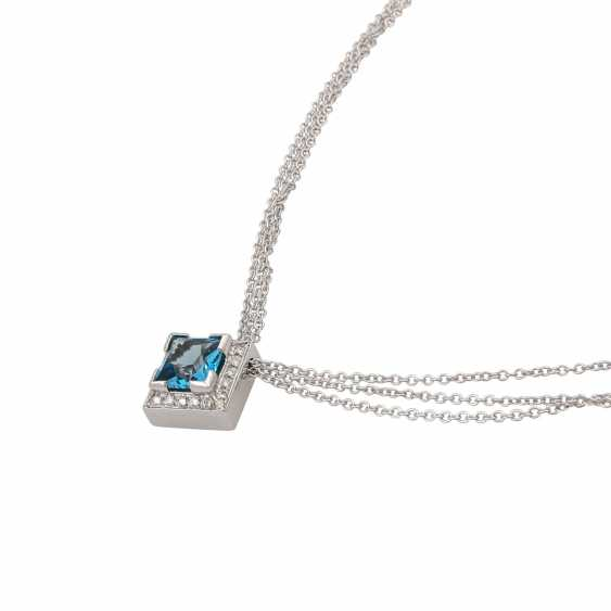 Necklace with blue topaz in a square star cut approx. 3.5 ct, - photo 5