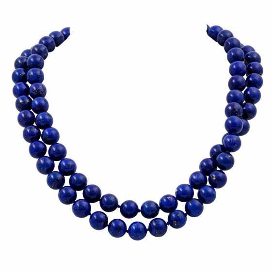 Lapis lazuli necklace made of balls 10 mm, - photo 1
