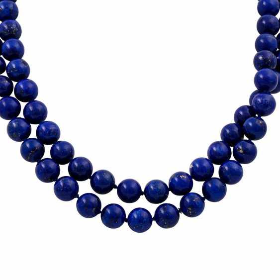 Lapis lazuli necklace made of balls 10 mm, - photo 2