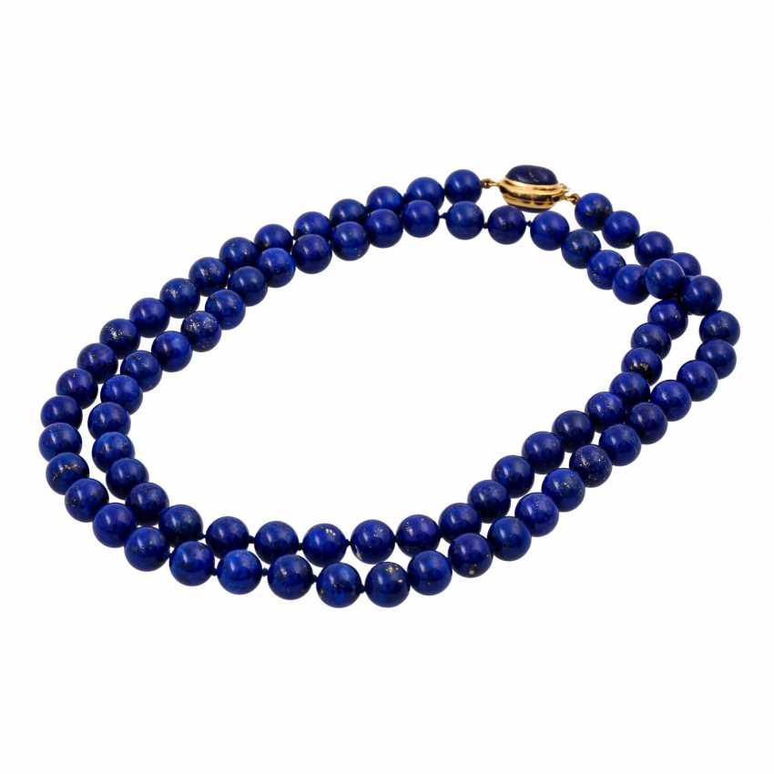 Lapis lazuli necklace made of balls 10 mm, - photo 3