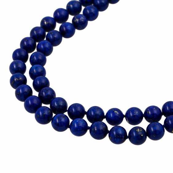 Lapis lazuli necklace made of balls 10 mm, - photo 4