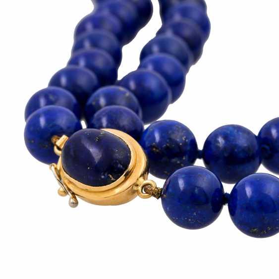 Lapis lazuli necklace made of balls 10 mm, - photo 5