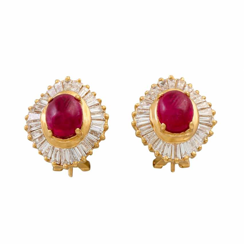 Pair of ear clips with ruby cabochons and diamonds - photo 1