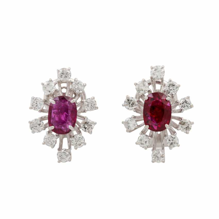 Pair of ear clips with rubies and diamonds - photo 1