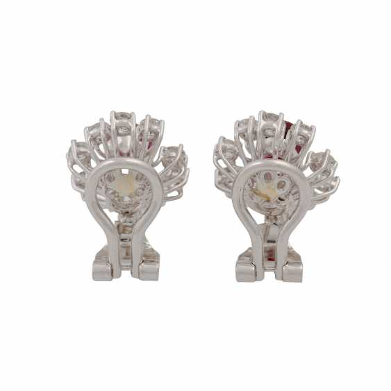 Pair of ear clips with rubies and diamonds - photo 4