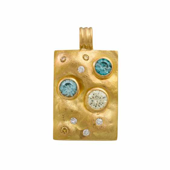 Pendants with diamonds and zircons, - photo 1