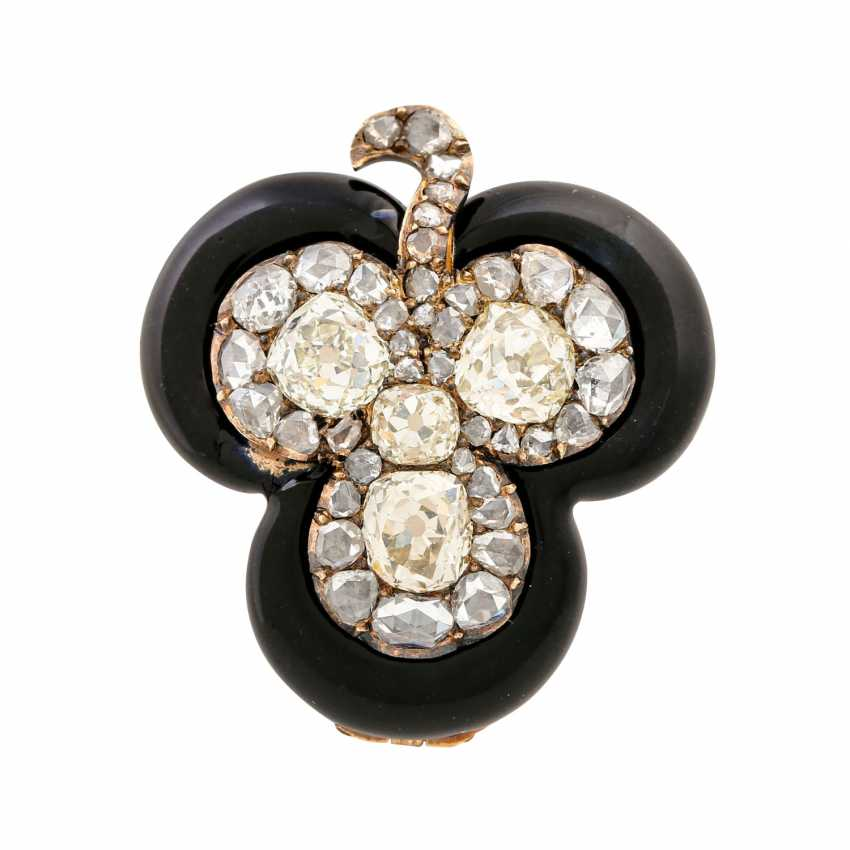 "Brooch ""shamrock"" made of diamonds framed by black enamel, - photo 1"
