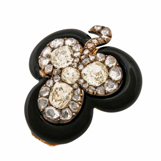 "Brooch ""shamrock"" made of diamonds framed by black enamel, - photo 4"