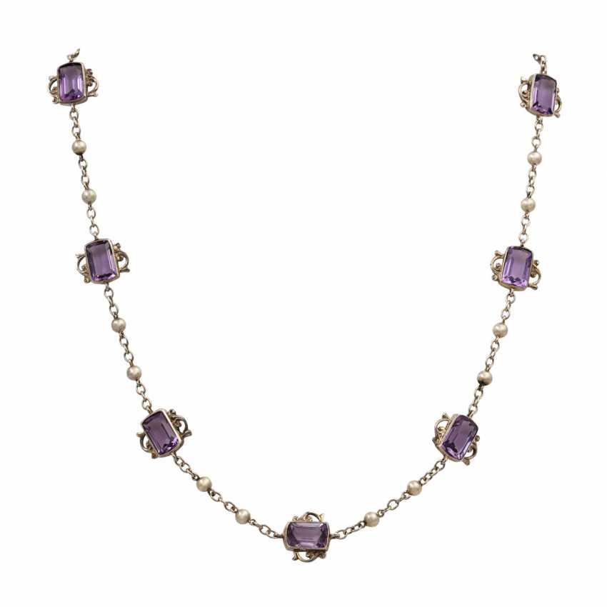 Art Nouveau necklace with 7 light amethysts, - photo 1