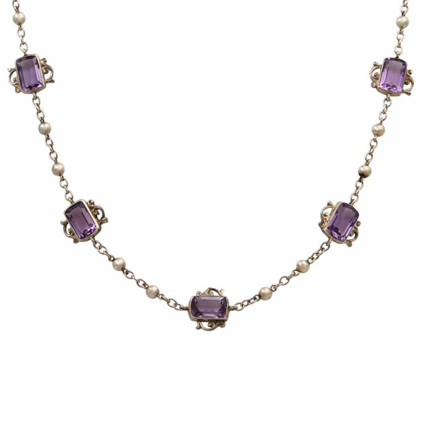 Art Nouveau necklace with 7 light amethysts, - photo 2