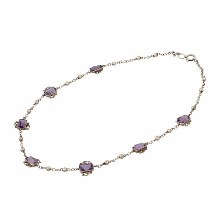 Art Nouveau necklace with 7 light amethysts, - photo 3