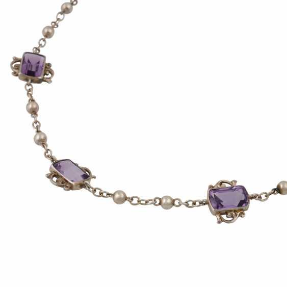 Art Nouveau necklace with 7 light amethysts, - photo 4