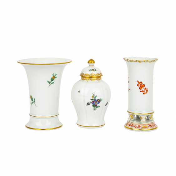 MEISSEN 2 vases and 1 lidded vase, 1st and 4th choice, 20th century: - photo 2